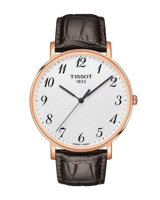 Tissot - Everytime Men's Brown Leather Strap Gold Watch for Men - Lyst
