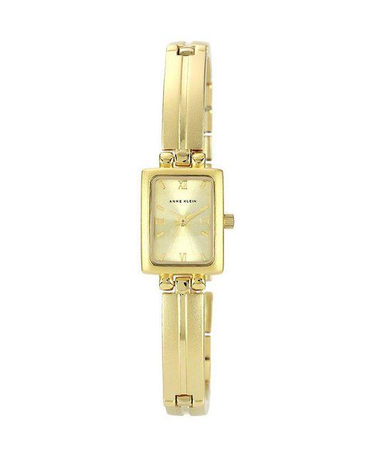 Anne Klein | Metallic Rectangular Ip Gold Link Bracelet Watch | Lyst