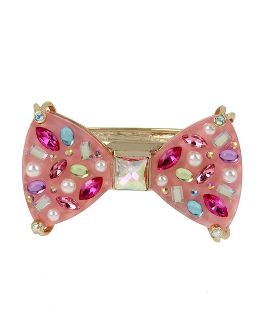 Betsey Johnson - Pink Goldtone And Multi-stone Bow Bangle Bracelet - Lyst