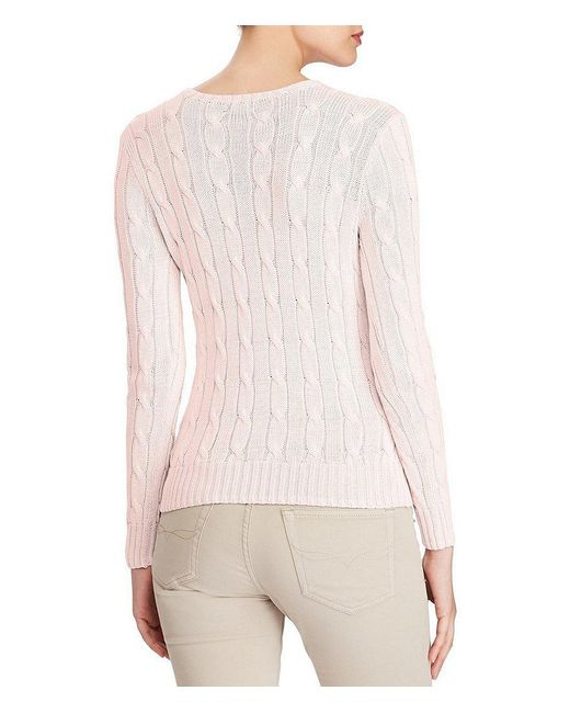 Polo ralph lauren Cable-knit Cotton Sweater in Pink | Lyst