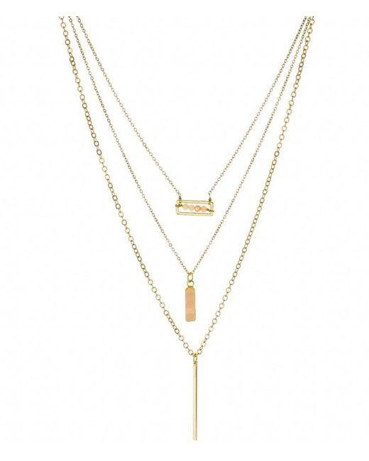 Panacea - Metallic Crystal Agate Bar Layered Necklace - Lyst