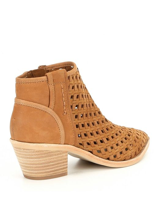 d1691816213 ... Dolce Vita - Brown Spence Perforated Leather Block Heel Booties - Lyst  ...