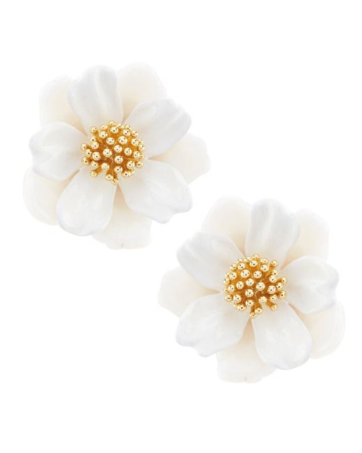 Kate Spade - White Floral Mosaic Stud Statement Earrings - Lyst