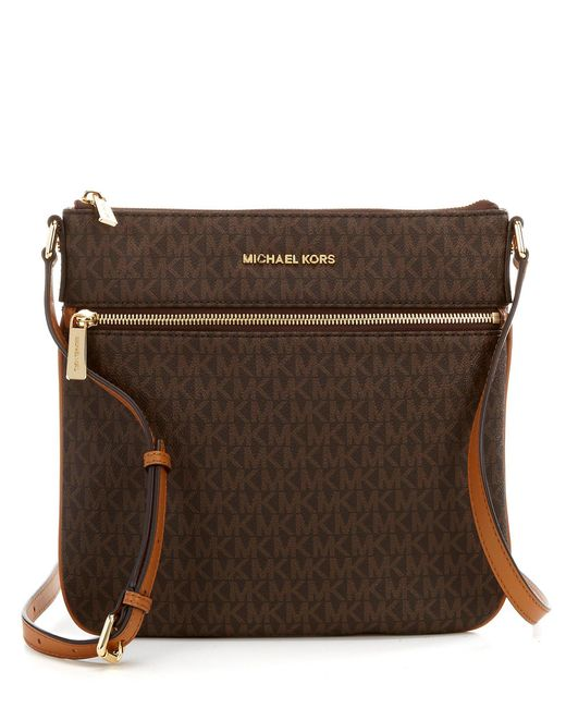 f2a01bd11ad6 ... coupon for michael michael kors brown bedford signature flat cross body  bag lyst 7f93f 1088a