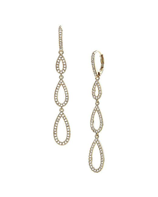 Nadri | Metallic Pavé Triple Teardrop Linear Earrings | Lyst