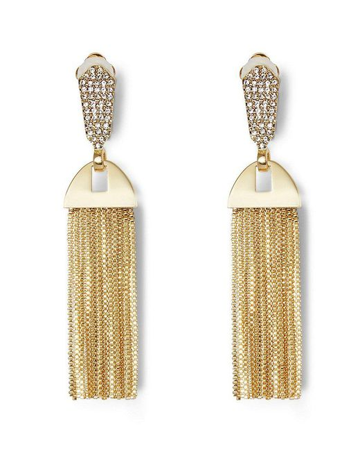 Vince Camuto - Metallic Chain-tasseled Pav Clip-on Statement Earrings - Lyst