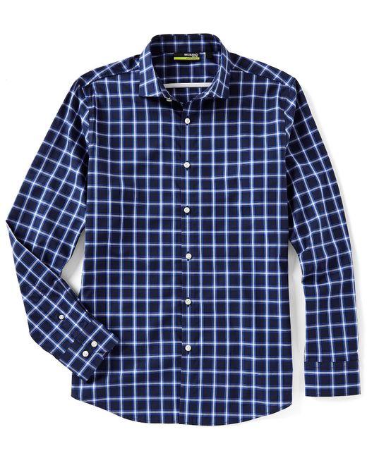Murano - Blue Slim-fit Windowpane Long-sleeve Woven Shirt for Men - Lyst