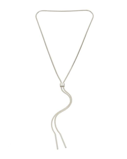 Kenneth Cole   Metallic Silver Lariat Necklace   Lyst