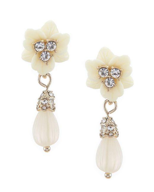 Marchesa - Metallic Floral Small Post Drop Earrings - Lyst