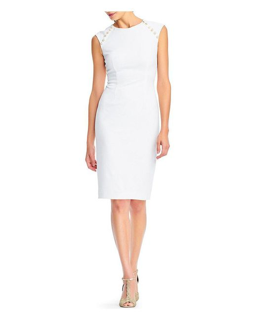 Adrianna Papell - White Pearl Button Sheath Dress - Lyst