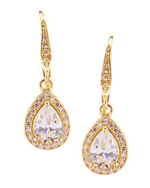 Anne Klein | Metallic Cubic Zirconia Teardrop Earrings | Lyst