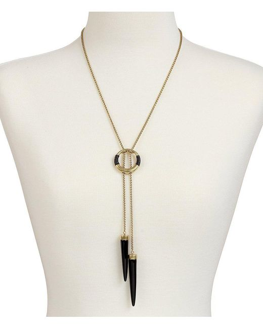 Lucky Brand | Metallic Leather-wrapped Bolo Necklace | Lyst