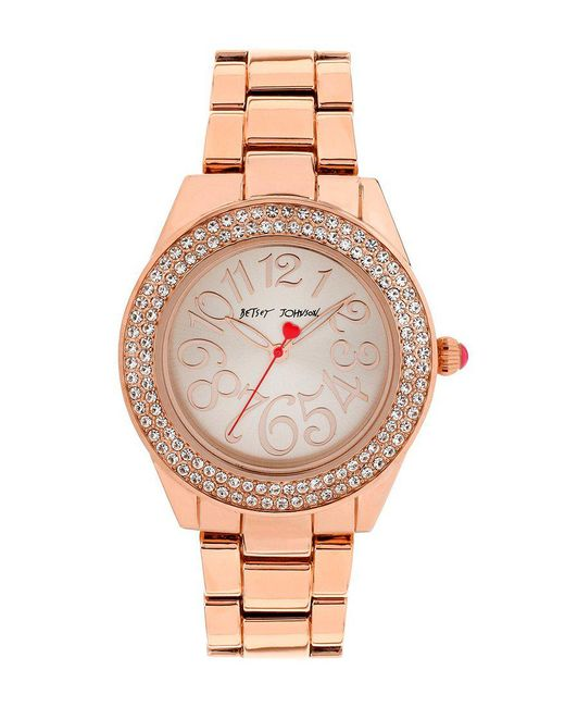 Betsey Johnson | Metallic Crystal Rose Gold Crystal Bezel Bracelet Watch | Lyst
