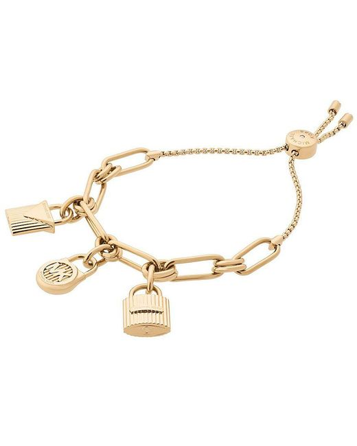 Michael Kors | Metallic Hamilton Padlock Charm Slider Bracelet | Lyst