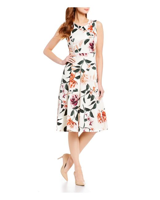 2c29973dca2 Calvin Klein - Multicolor Floral Print Sleeveless Fit And Flare Dress -  Lyst ...