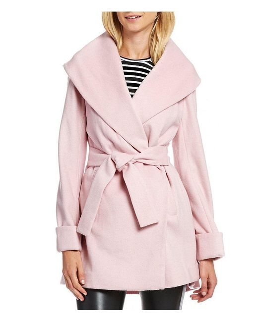 Trina Turk | Red Trina Ali Shawl Collar Wool Wrap Coat | Lyst