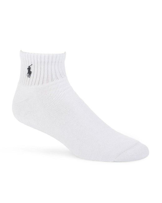 Polo Ralph Lauren | White Big & Tall Cushioned Quarter-top Casual Socks 3-pack for Men | Lyst