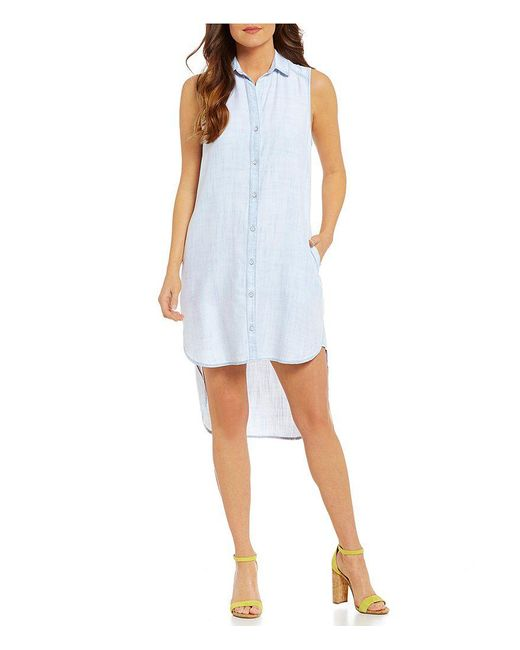 Chelsea & Violet | Blue Collared Sleeveless Crossover Yoke Dress | Lyst