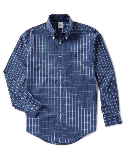 Brooks Brothers - Blue Non-iron Regent-fit Windowpane Long-sleeve Woven Shirt for Men - Lyst