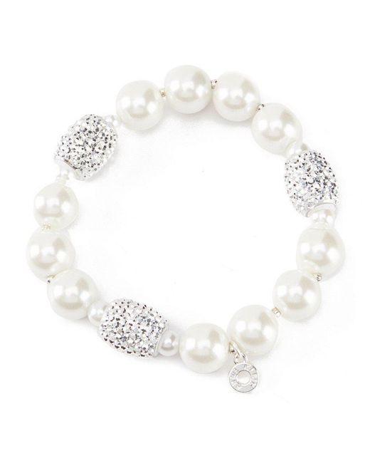 Anne Klein - White Faux-pearl Stretch Bracelet - Lyst