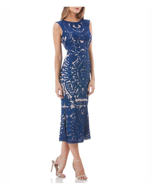 JS Collections - Blue Soutache Lace Midi Dress - Lyst