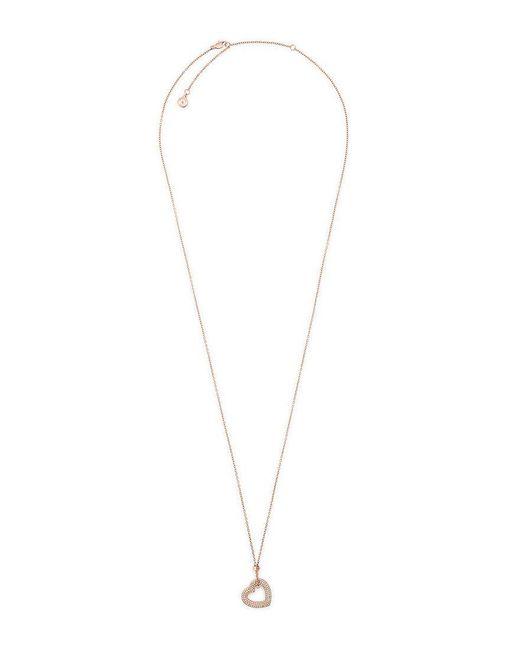 Michael Kors | Metallic Pavé Crystal Heart Pendant Necklace | Lyst