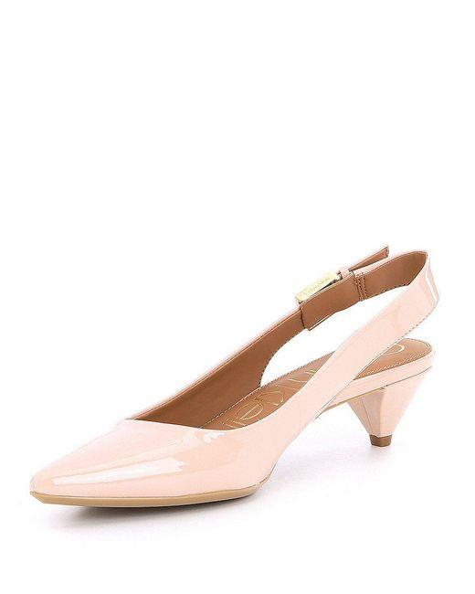 Lara Patent Leather Slingback Kitten Heel Pumps i9rps