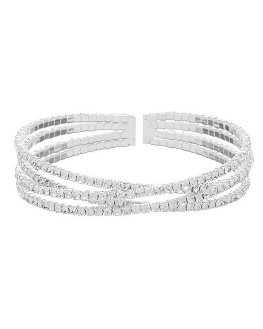 Cezanne - Metallic Double Crisscross Rhinestone Cuff Bracelet - Lyst