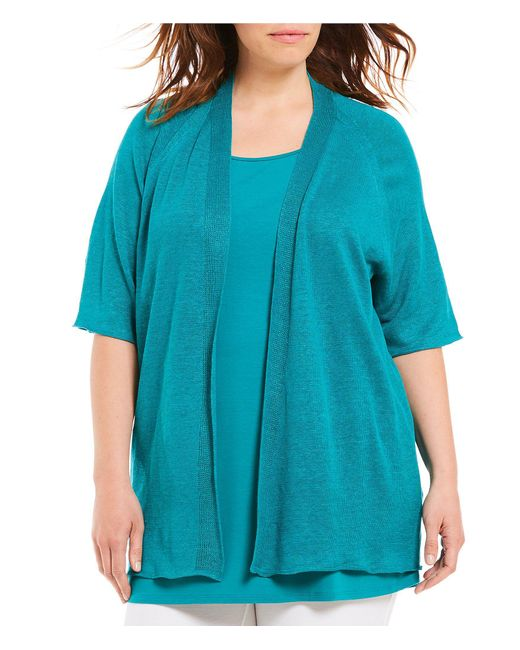 Eileen Fisher - Black Plus Size Elbow Sleeve Cardigan - Lyst