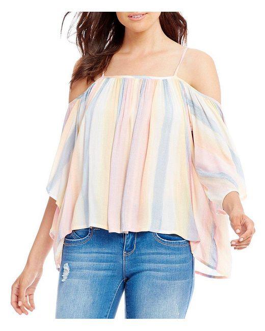Billabong | Multicolor Forever Striped Cold Shoulder Top | Lyst