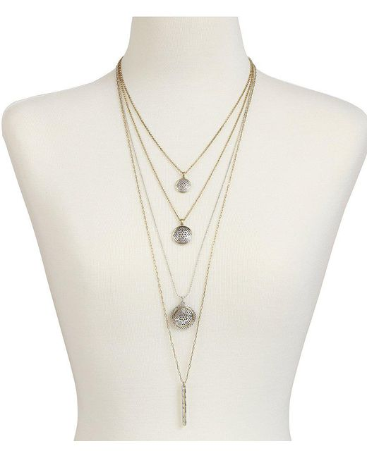 Lucky Brand | Metallic Rock Crystal Convertible Multi-strand Necklace | Lyst