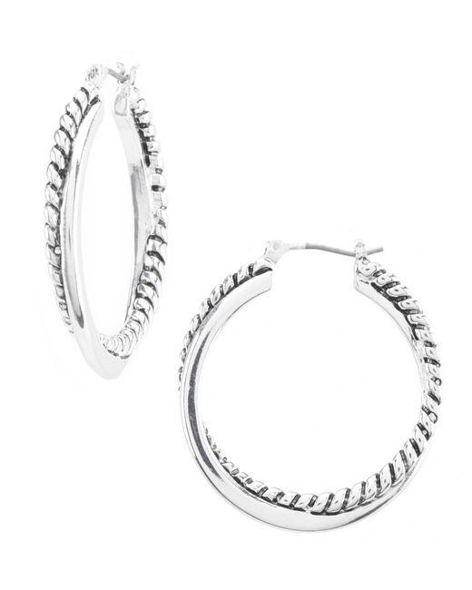 Lauren by Ralph Lauren - Metallic Silver Twisted Hoop Earrings - Lyst