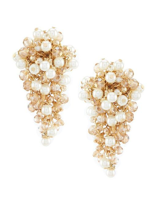 Belle By Badgley Mischka - Metallic Cluster Pearl Bead Clip Statement Earrings - Lyst