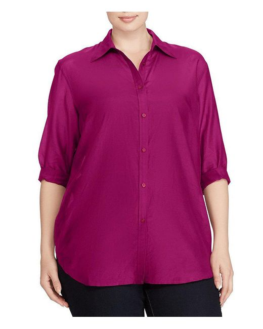 Lauren by Ralph Lauren | Purple Plus Cotton-silk Voile Shirt | Lyst