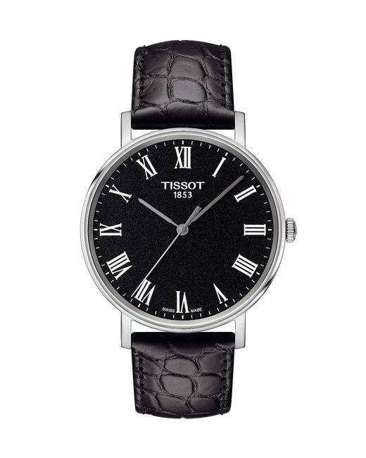 Tissot - Everytime Men's Black Dial Leather Strap Watch for Men - Lyst