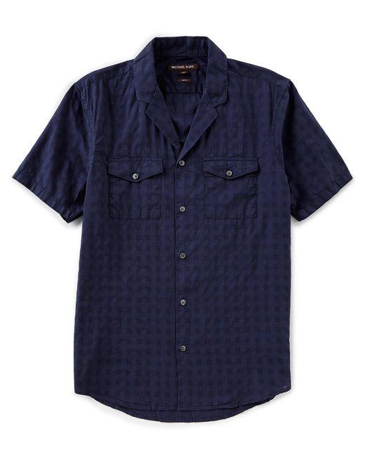 Michael Kors - Blue Slim-fit Solid Short-sleeve Woven Shirt for Men - Lyst