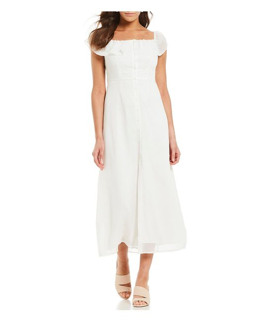 c5ef0191f9 Gianni Bini - White Aida Square Neck Button Front A-line Midi Dress - Lyst  ...
