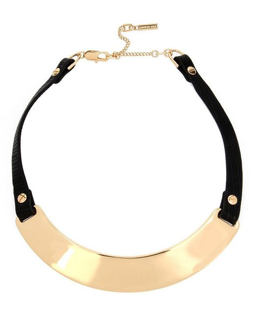 Kenneth Cole   Metallic Faux-leather & Sculptural Metal Collar Necklace   Lyst