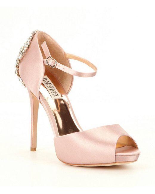 Badgley Mischka - Pink Crystal-embellished Satin Dawn Pumps - Lyst