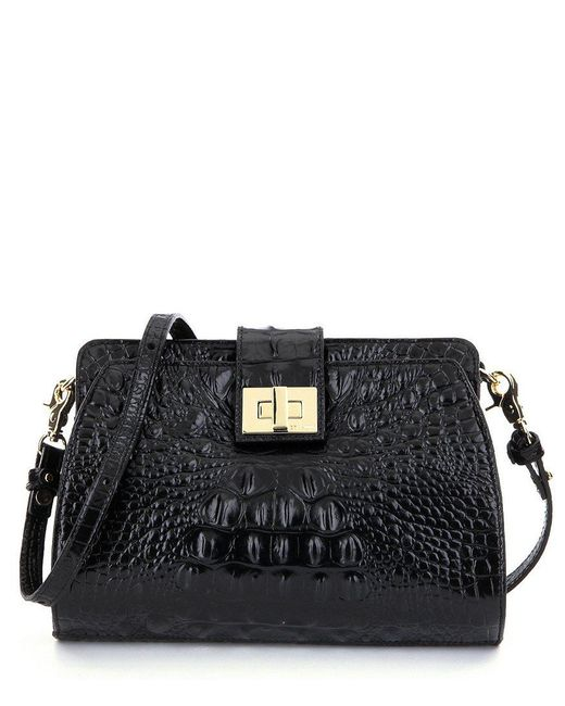 Brahmin   Black Melbourne Collection Alena Croco-embossed Cross-body Bag   Lyst