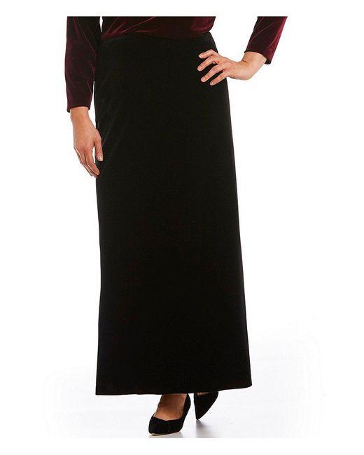 Alex Evenings | Black Plus Fishtail-back Velvet Skirt | Lyst