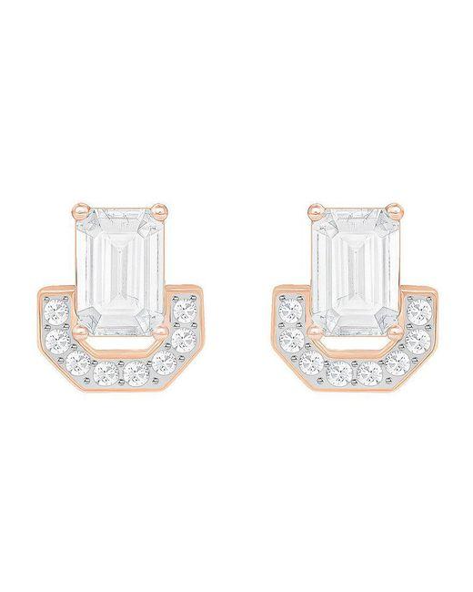 Swarovski | Metallic Gallery Square Stud Earrings | Lyst