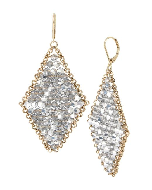 Kenneth Cole - Metallic Woven Crystal Faceted Bead Kite Drop Earrings - Lyst
