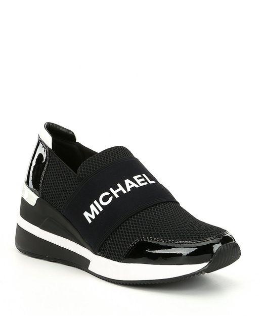 MICHAEL Michael Kors - Black Felix Trainer Slip-on Wedge Sneakers - Lyst
