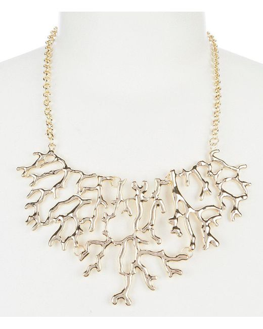 Dillard's - Metallic Tailored Coral Reef Frontal Statement Necklace - Lyst