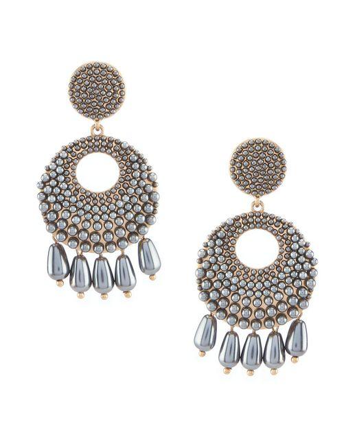 Belle By Badgley Mischka - Gray Pave Pearl Drop Statement Earrings - Lyst