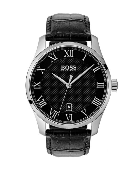 BOSS - The Boss Watches Master Collection Black Croc Leather Watch for Men - Lyst