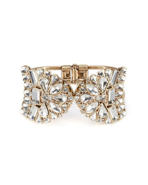 Belle By Badgley Mischka | Metallic Vintage Crystal Cuff Hinge Bracelet | Lyst
