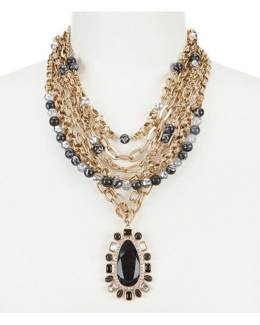 Belle By Badgley Mischka | Red Beads & Chains Necklace | Lyst