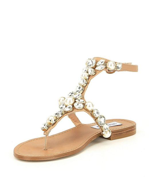 Steve Madden Chantel Studded Pearl Jeweled Sandals WHK4EB1